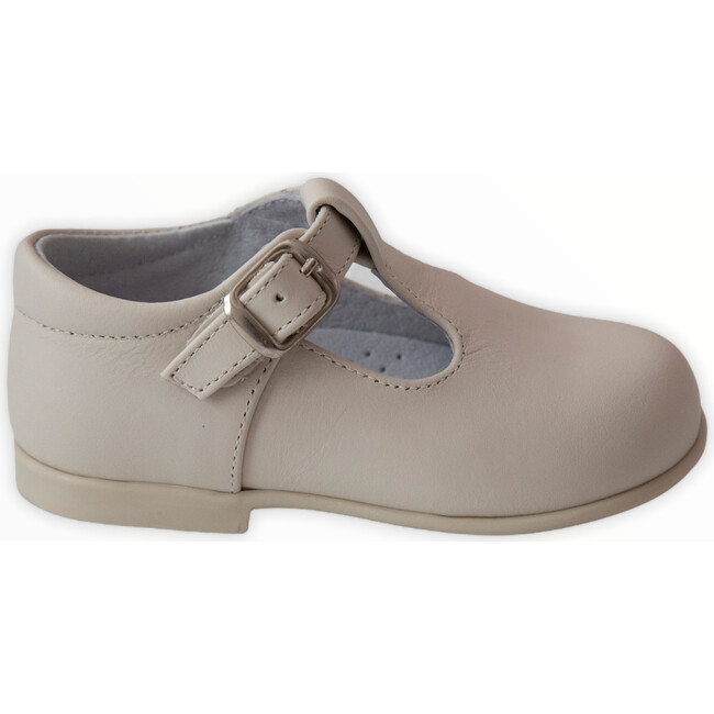 Leather T-Bar Party Shoe, Beige