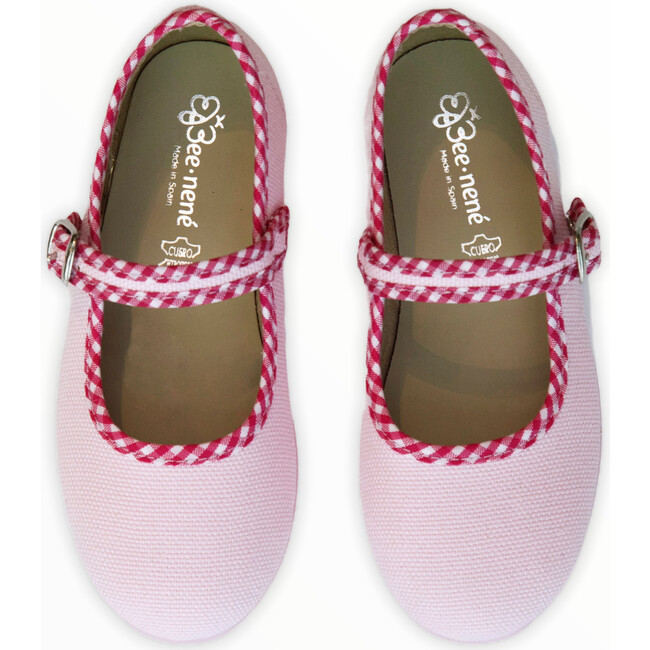 Canvas Mary Jane, Pink with Gingham Details