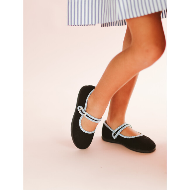 Canvas Mary Jane, Black with Gingham Details