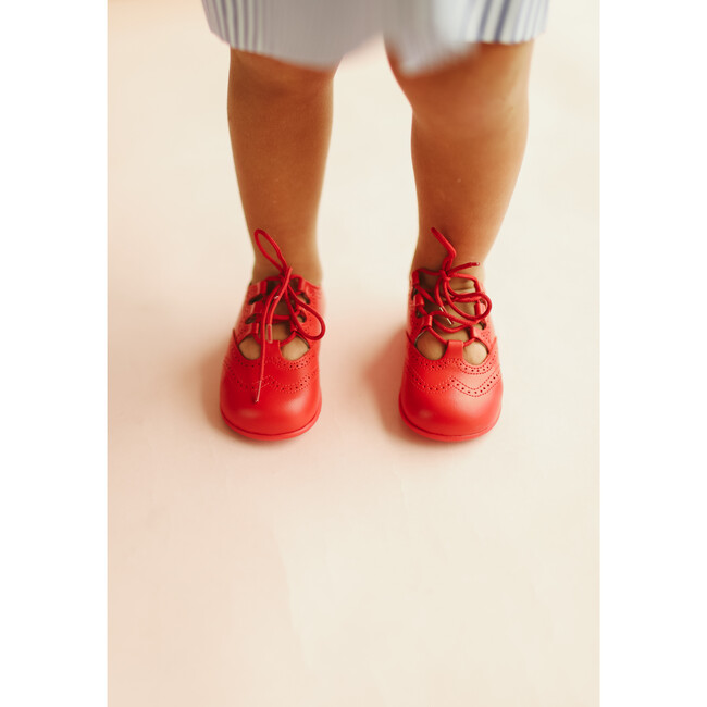 Leather Lace up Shoe, Red