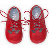 Leather Lace up Shoe, Red - Dress Shoes - 3