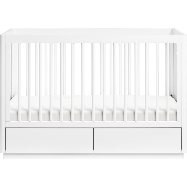 Bento 3-in-1 Convertible Storage Crib with Toddler Bed Conversion Kit, White - Cribs - 1