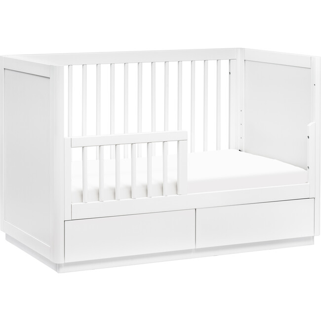 Bento 3-in-1 Convertible Storage Crib with Toddler Bed Conversion Kit, White
