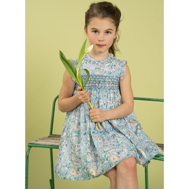 Salome Dress, Turquoise Floral