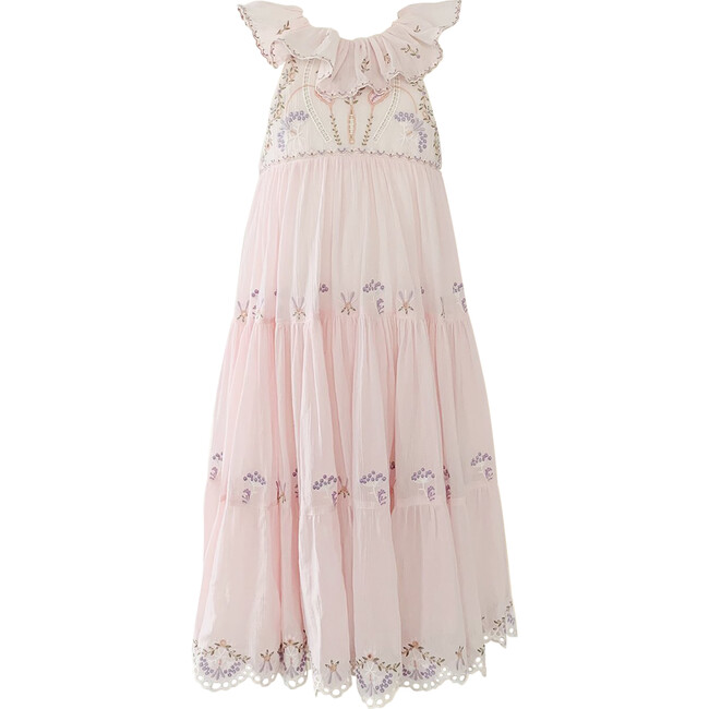 Athena Crinkle Embroidery Maxi Dress, Ballet Pink