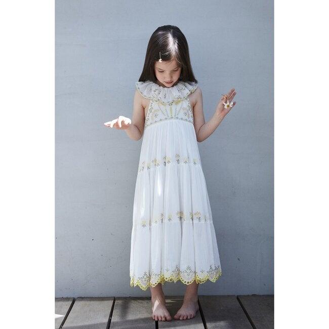 Athena Crinkle Embroidery Maxi Dress, White