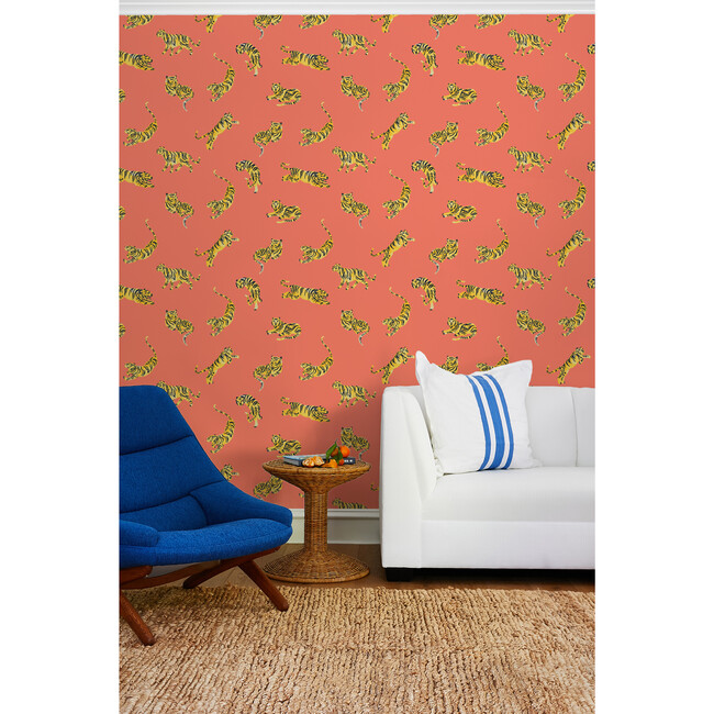 Tea Collection Tigers Traditional Wallpaper, Watermelon