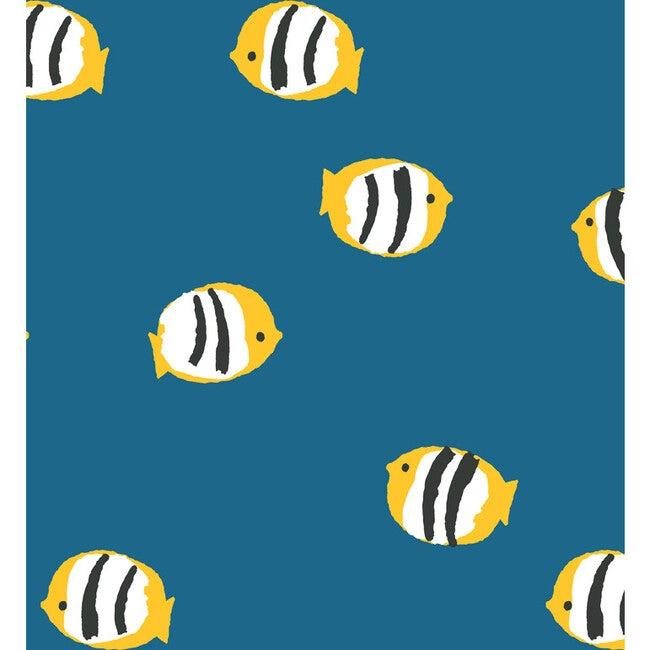Tea Collection Rosa Fish Removable Wallpaper, Cadet Blue