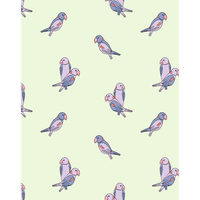 Tea Collection Alexandrine Parakeet Traditional Wallpaper, Small Pistachio
