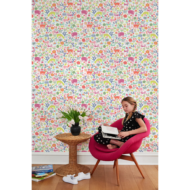 Tea Collection Menagerie Traditional Wallpaper, Pink