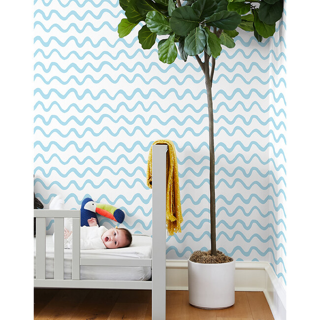 Tea Collection Aegean Waves Removable Wallpaper, Baby Blue