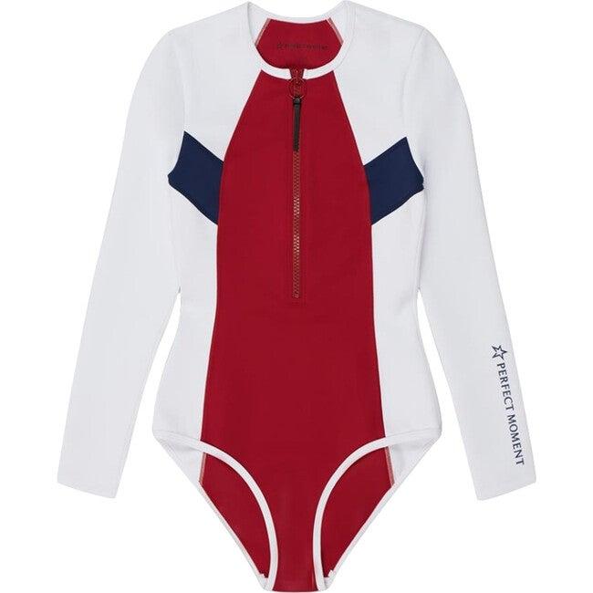 Women's Chevron Neo Wetsuit, White/Navy/Red