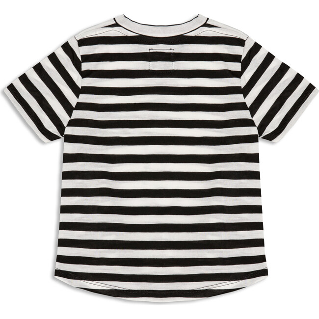 Short Sleeve Logo Patch Tee, Black and White Stripe