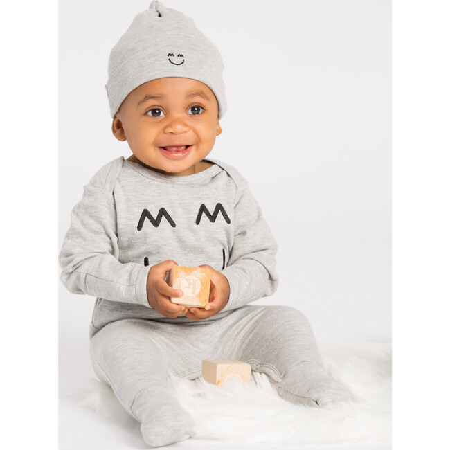 Embroidered Romper and Hat, Grey