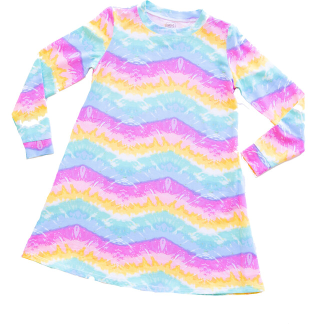 Tidal Wave Long Sleeve Lounge Dress, Rainbow