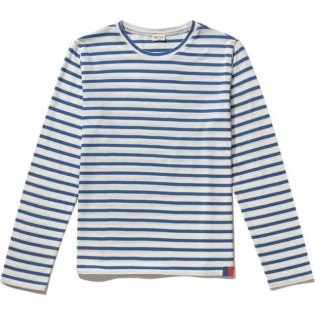 Women's Modern Long Sleeve Shirt, White/Royal Blue