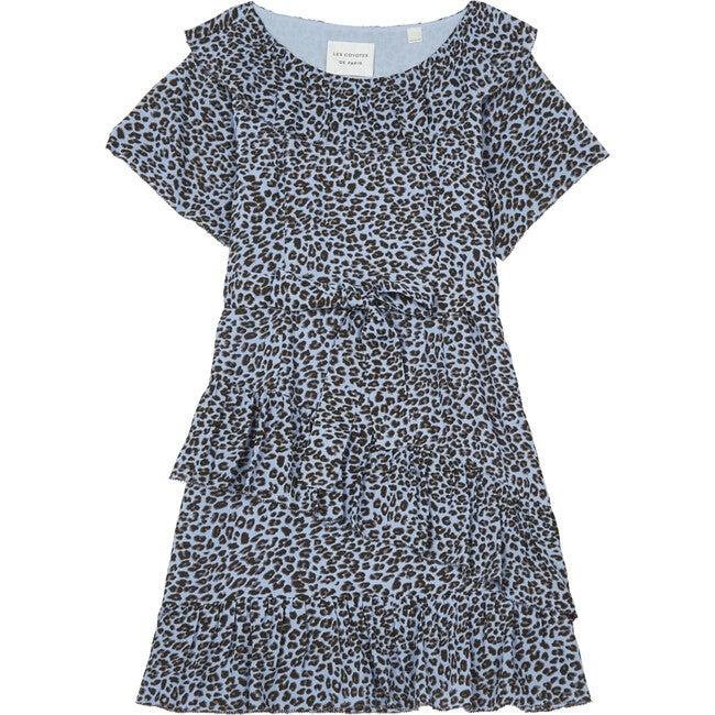 Kaya Leopard Dress, Blue