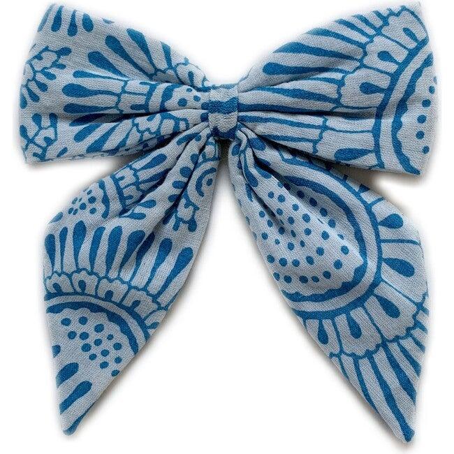 Blue Printed Bow Clip - Hair Accessories - 1