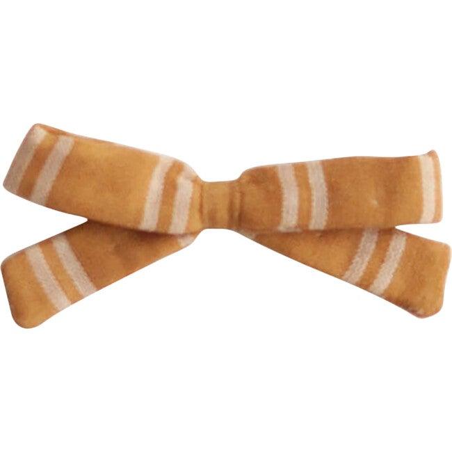 Small Bow Clip, Mustard Stripe