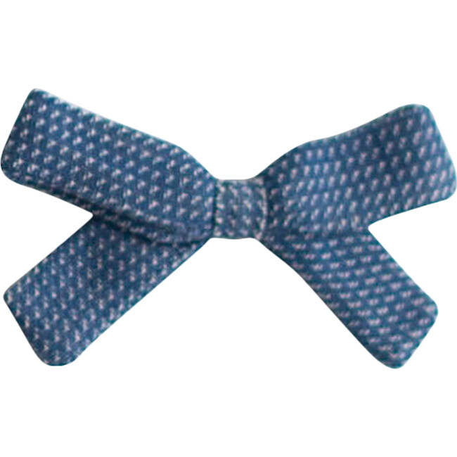 Small Bow Clip, Navy Chex