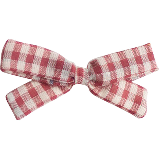 Small Bow Clip, Red Chex