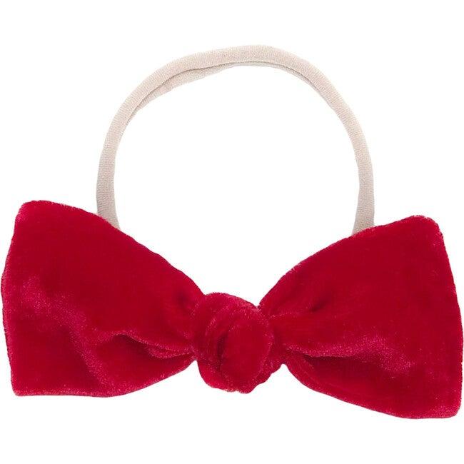 Red Silk Velvet Bow Headband - Hair Accessories - 1