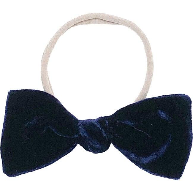 Navy Silk Velvet Bow Headband
