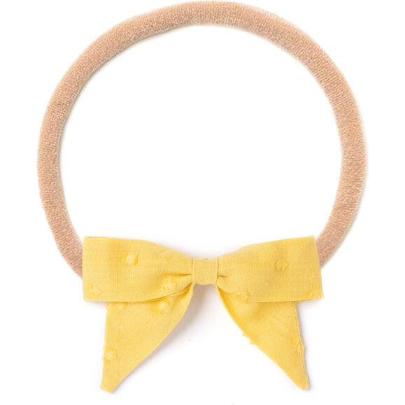 Headband Bow, Mustard Swiss Dot