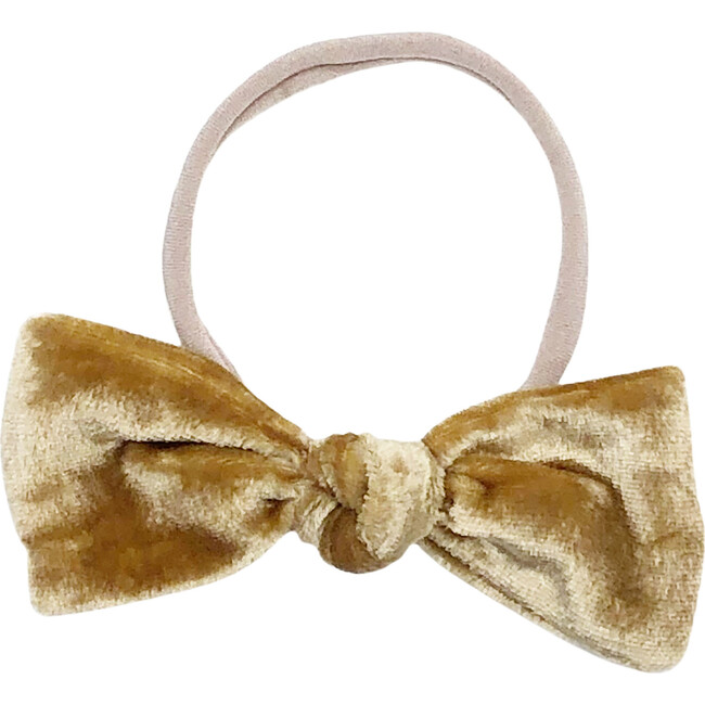 Gold Silk Velvet Bow Headband