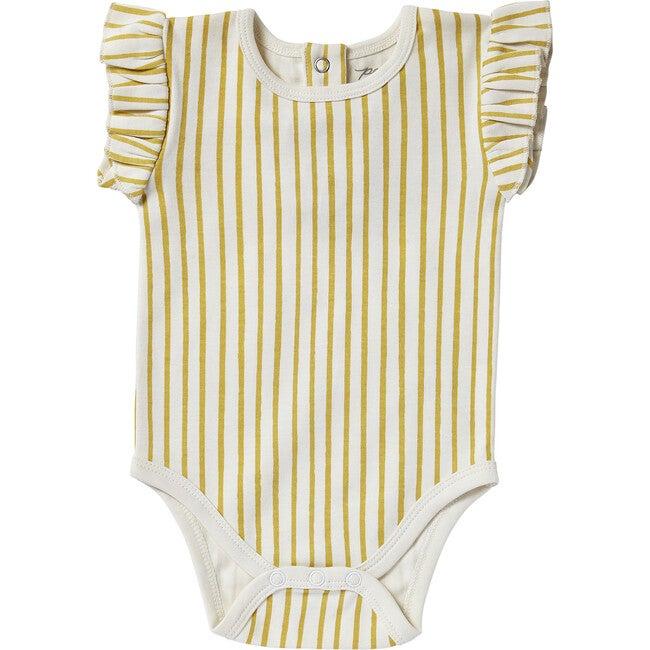 Organic Stripes Away Short Sleeve Ruffle One-Piece, Marigold - Rompers - 1