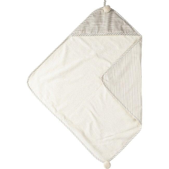 Stripes Away Hooded Towel, Pebble/Dark Grey