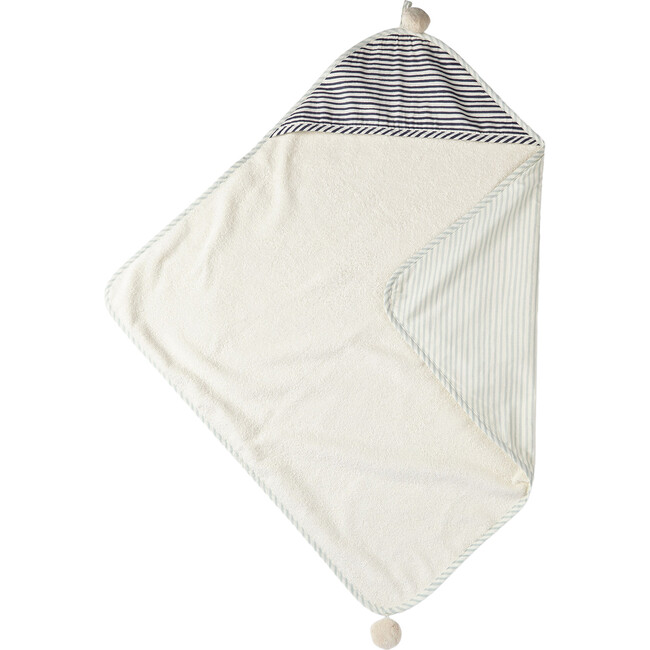 Stripes Away Hooded Towel, Sea/Ink