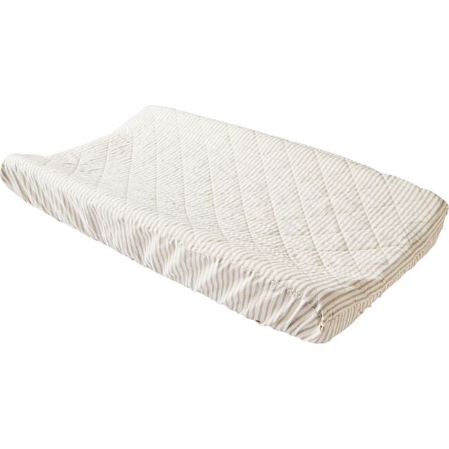 Stripes Away Changing Pad Cover, Pebble