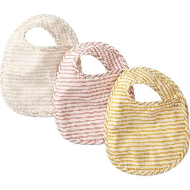 Set of 3 Striped Away Bibs, Petal Multi - Bibs - 1