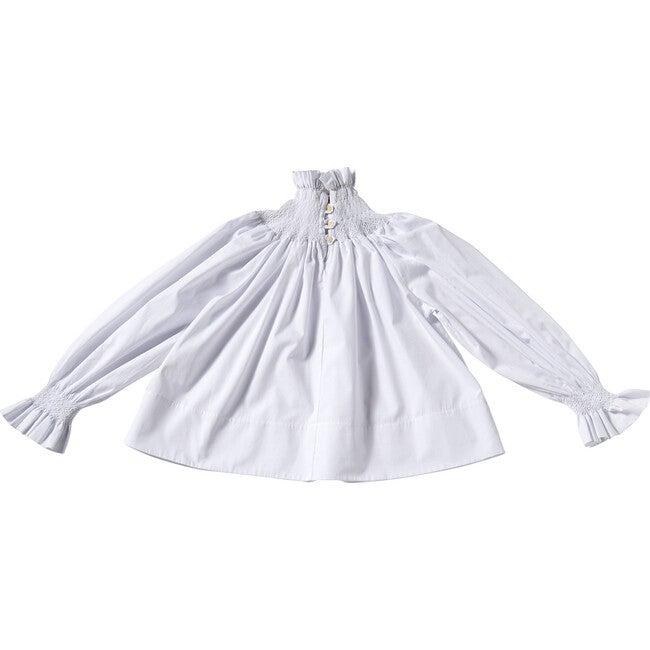 Frida Smock Blouse, White & White