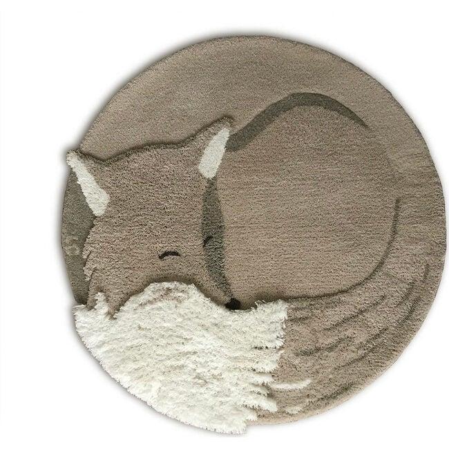 Tilky the Fox Wool Rug, Greige - Rugs - 1