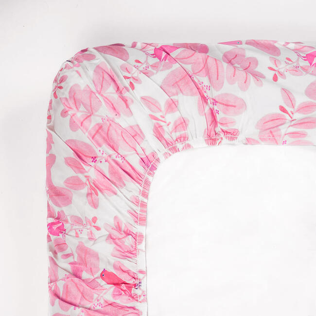 Songbirds Fitted Sheet, Pink