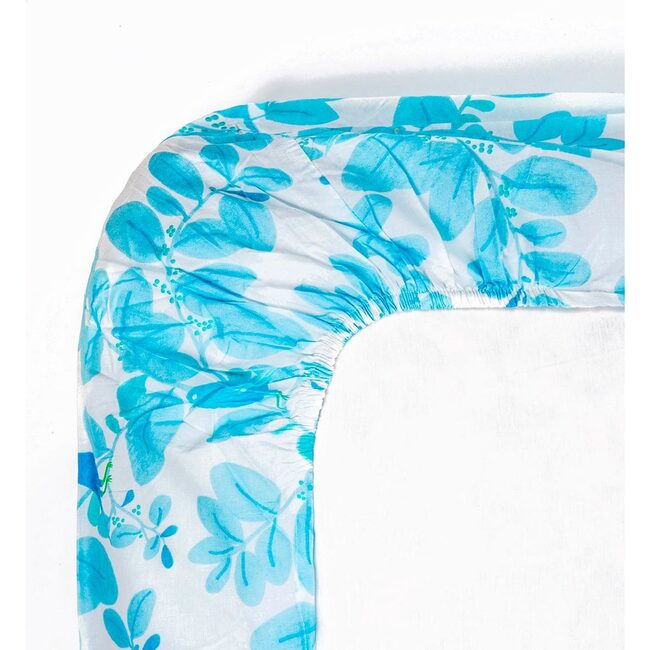 Songbirds Fitted Sheet, Blue