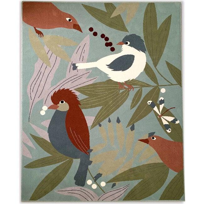 Olinka Birds Rug, Blue Multi - Rugs - 1