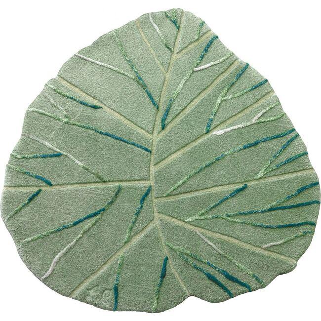 Leaf Wool Rug, Green - Rugs - 1