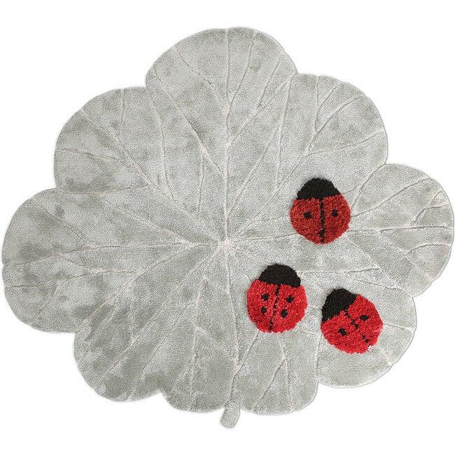 Ladybugs Wool Rug, Grey/Red