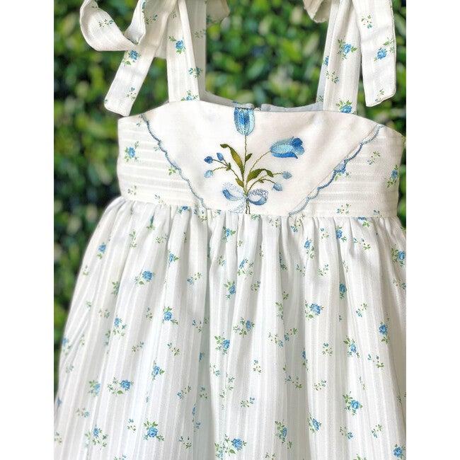 2y Dimity Floral Dress, Blue Rosebud