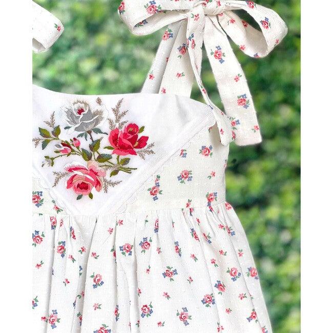 8y Dimity Floral Dress, Red Rose