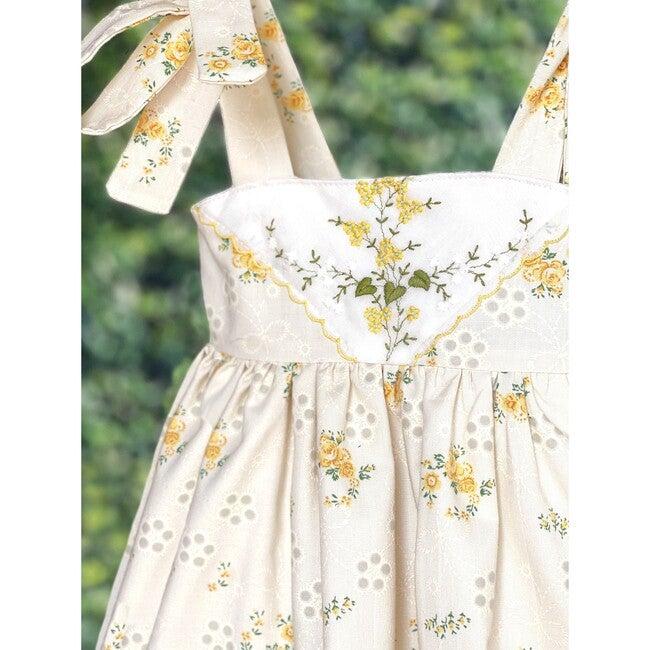 12m Dimity Floral Dress, Yellow Rosebud