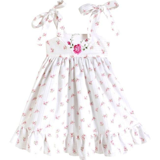 18m Dimity Floral Dress, Pink Rose