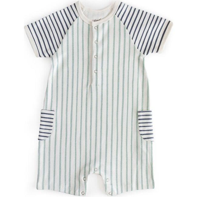 Stripes Away Shorts Romper, Ink/Sea