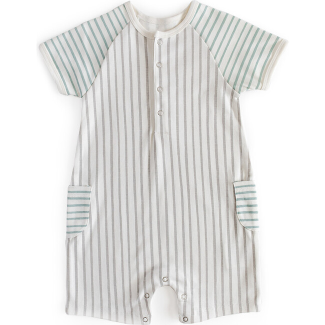 Stripes Away Shorts Romper, Pebble/Sea