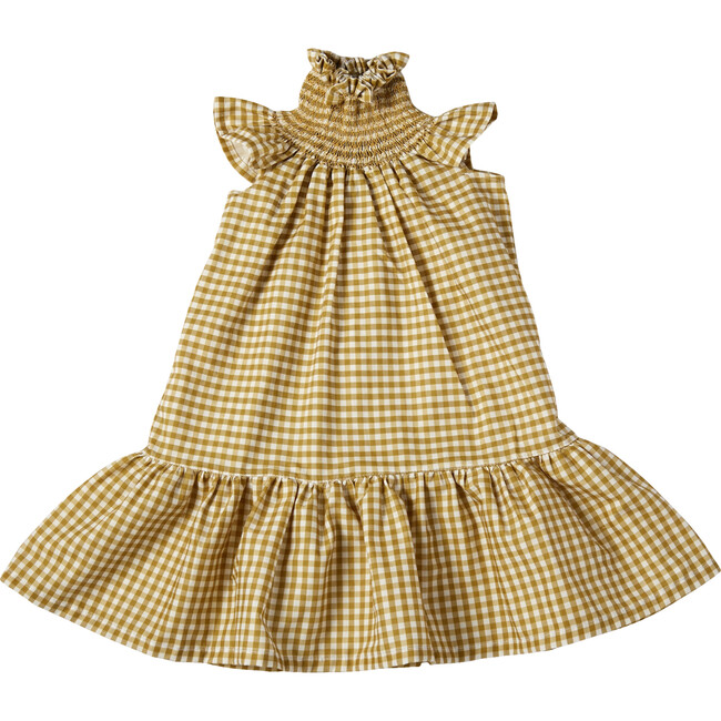 Amalia Smock Dress, Ocher Gingham