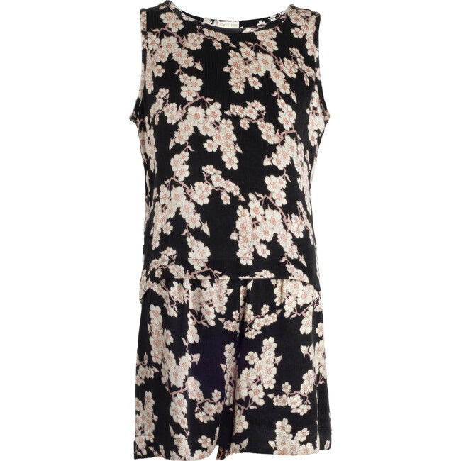 Vegan Silk Pajama Set, Black  Pink Blossoms