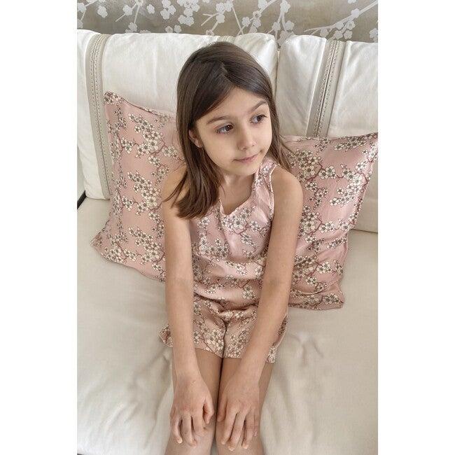 Vegan Silk Pajama Set, Blush Pink Blossoms